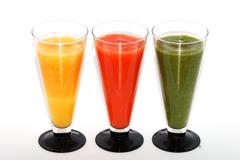three colorful smoothie top - stock photo
