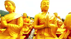 Golden Buddha at Buddha Memorial park Stock Footage