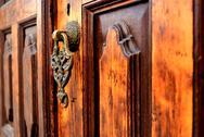 Brass gate with door knocker istanbul Turkey Stock Photos