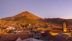 Sunset over Potosi, Bolivia Stock Footage