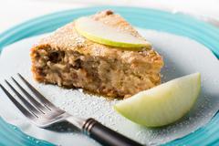 Vegan Apple caramel cheesecake dessert Stock Photos