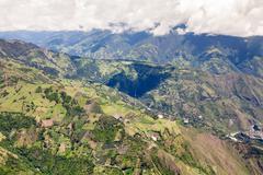 High Altitude Helicopter Shot Over Llanganates National Park Tungurahua Province - stock photo
