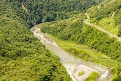 Pastaza River Valley In Ecuadorian Andes And Pan American Road High Altitude - stock photo