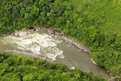 Pastaza River Basin Aerial Shot From Low Altitude Full Size Helicopter - stock photo