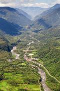 Rio Verde Village In Ecuadorian Andes Aerial Shot Stock Photos