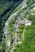 Rio Negro Village In Ecuadorian Andes Aerial Shot Stock Photos
