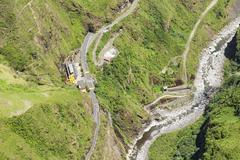 Agoyan Dam Aerial Shot From Full Size Helicopter Tungurahua Province Ecuador - stock photo