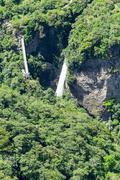 Pailon Del Diablo Waterfall Complex Tungurahua Province Ecuador Aerial Shot - stock photo