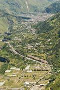 Banos De Agua Santa Tungurahua Province Ecuador Aerial Telephoto Shot Stock Photos