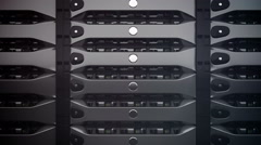 Closeup on data servers. LED lights are flashing. Loop. Stock Footage