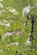 Stock Photo of Pailon Del Diablo Waterfall Complex Tungurahua Province Ecuador Aerial Shot