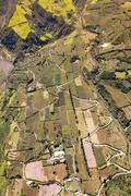 Ecuadorian Farmland Aerial Shot Tungurahua Province High Altitude Full Size - stock photo