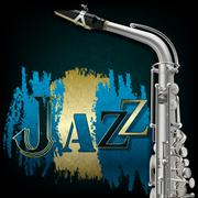 Abstract grunge music background with saxophone Piirros
