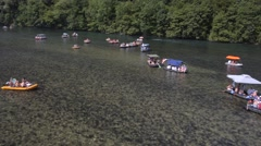 Rafting on river Drina Stock Footage