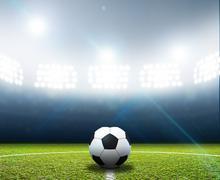 Stadium And Soccer Ball - stock illustration