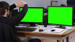 Worker stretching drink coffee office green screen - 1080p - stock footage