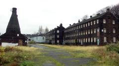 Old factory and bottle kiln in Stoke industrial buildings Stock Footage