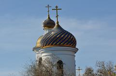 The dome of the Orthodox Church on the border between Europe and Asia - stock photo