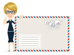 Happy female Delivering Mail Over White Background Stock Illustration