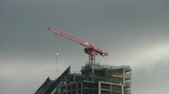 Red crane construction site Stock Footage