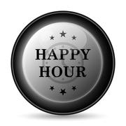 Stock Illustration of Happy hour icon. Internet button on white background..