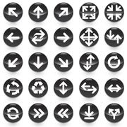 25 Arrows icons with black background vector illustration - stock illustration