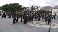 4k Orchestra prepares for public music event in Funchal Madeira - stock footage