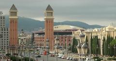 Video of the Venetian towers of the Palau Nacional and Plaça d'Espanya Stock Footage