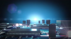 Circuit Board with moving electrons Stock Footage
