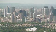 Aerial of La Defense financial district, Paris, France Stock Footage