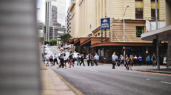 Long shot slo mo dolly into crowds at Anzac square Stock Footage