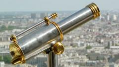 Telescope and view of Paris roofs Stock Footage