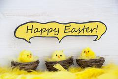 Three Chicks With Comic Speech Balloon Happy Easter And Feathers Stock Photos