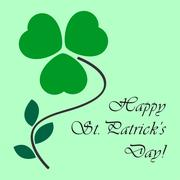 St Patricks card with shamrock and text Stock Illustration