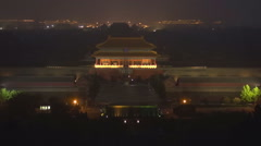 Aerial view Forbidden City night Beijing landmark tourism attraction Chinese Stock Footage