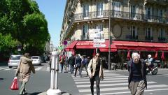 Paris street crossing Stock Footage