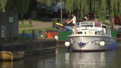 Boats on the Great Ouse river at Ely Stock Footage