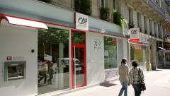 Credit Agricole Bank, Paris, France Stock Footage