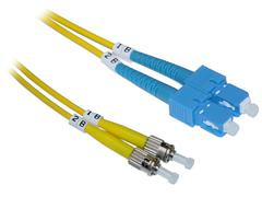Yellow Fiber Optic Cable with ST to SC Connectors - stock photo