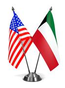 USA and Kuwait - Miniature Flags Stock Illustration