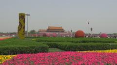 Tourist people relax Tiananmen Square Beijing city flower smog day landmark day Stock Footage