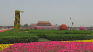 Stock Video Footage of Tourist people relax Tiananmen Square Beijing city flower smog day landmark day