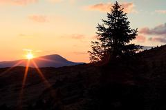 Stock Photo of Sunset in Ukrainian Carpathians