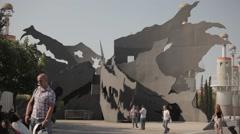 Barcelona Sants Station Area Art Stock Footage