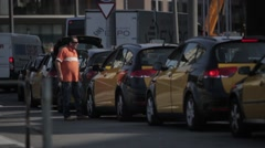Barcelona Sants Station Taxi Stand Stock Footage