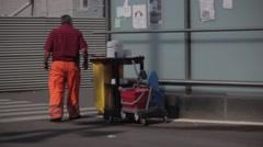 Barcelona Street Cleaner Stock Footage