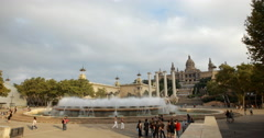 Video of the Palau Nacional and it's famous fountains in Barcelona, Spain Stock Footage