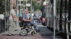 Barcelona Street Disabled Man Entering Bus Stock Footage