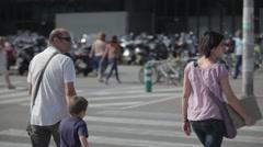 Barcelona Street Tourists Crossing Stock Footage