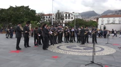 4k Orchestra prepares for public music event in Funchal Madeira Stock Footage